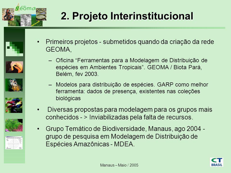 Manaus – Maio / 2005 2. Projeto Interinstitucional Primeiros projetos - submetidos quando da criação da rede GEOMA, –Oficina Ferramentas para a Modela