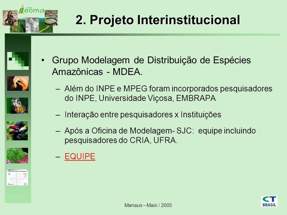 Manaus – Maio / 2005 2. Projeto Interinstitucional Grupo Modelagem de Distribuição de Espécies Amazônicas - MDEA. –Além do INPE e MPEG foram incorpora
