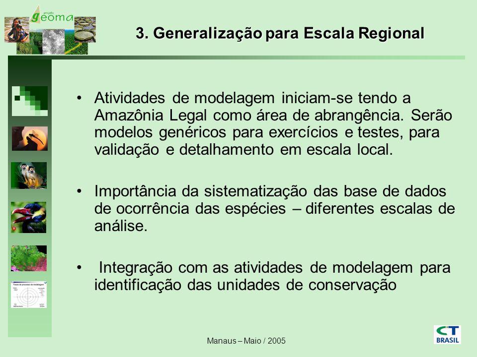 Manaus – Maio / 2005 3. Generalização para Escala Regional Atividades de modelagem iniciam-se tendo a Amazônia Legal como área de abrangência. Serão m