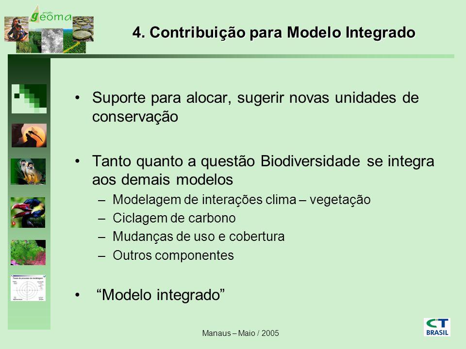Manaus – Maio / 2005 4. Contribuição para Modelo Integrado Suporte para alocar, sugerir novas unidades de conservação Tanto quanto a questão Biodivers