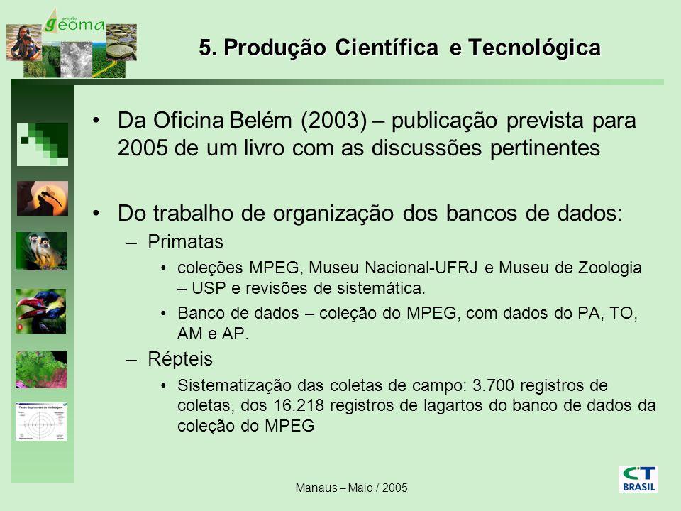 Manaus – Maio / 2005 5. Produção Científica e Tecnológica Da Oficina Belém (2003) – publicação prevista para 2005 de um livro com as discussões pertin