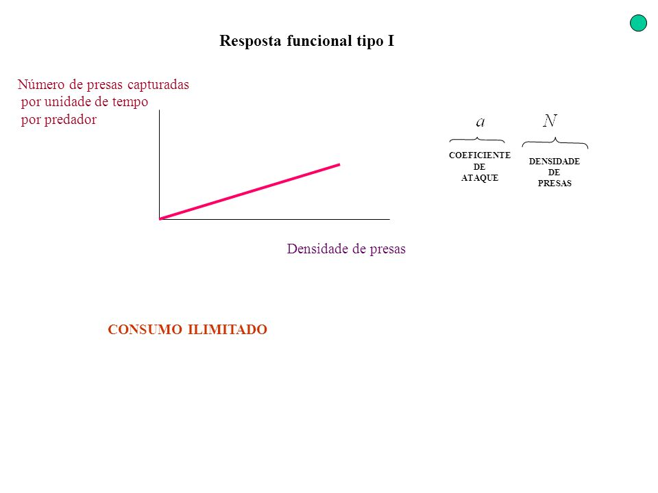 Resposta funcional tipo I Densidade de presas Número de presas capturadas por unidade de tempo por predador CONSUMO ILIMITADO COEFICIENTE DE ATAQUE DE