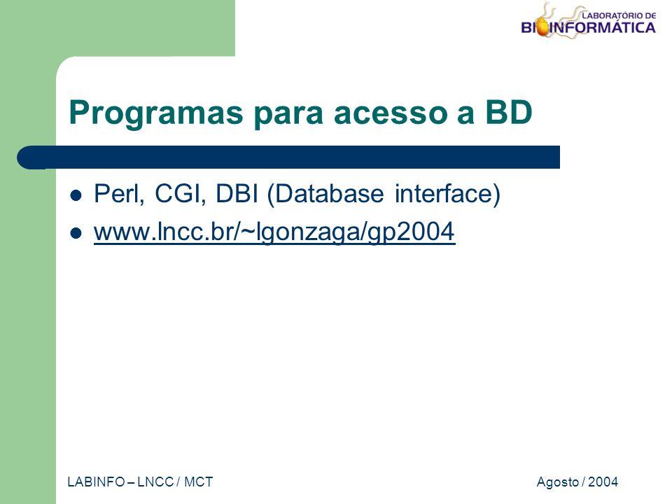 Agosto / 2004LABINFO – LNCC / MCT Programas para acesso a BD Perl, CGI, DBI (Database interface) www.lncc.br/~lgonzaga/gp2004