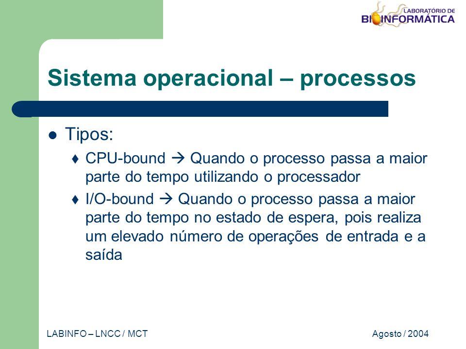 Agosto / 2004LABINFO – LNCC / MCT Sistema operacional – processos Tipos: CPU-bound Quando o processo passa a maior parte do tempo utilizando o processador I/O-bound Quando o processo passa a maior parte do tempo no estado de espera, pois realiza um elevado número de operações de entrada e a saída