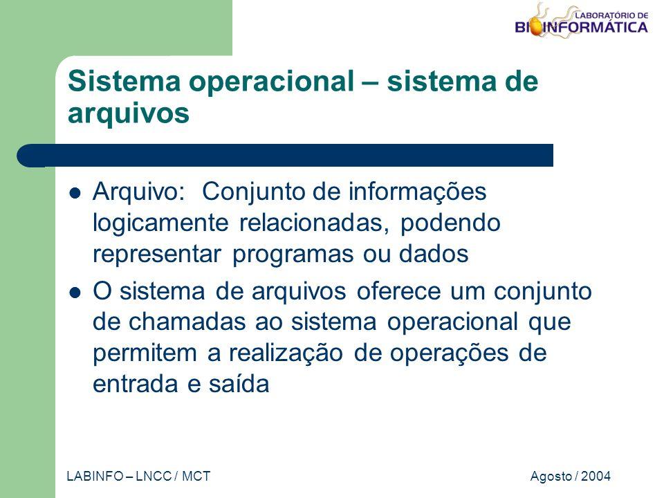 Agosto / 2004LABINFO – LNCC / MCT Sistema operacional – sistema de arquivos Arquivo: Conjunto de informações logicamente relacionadas, podendo representar programas ou dados O sistema de arquivos oferece um conjunto de chamadas ao sistema operacional que permitem a realização de operações de entrada e saída