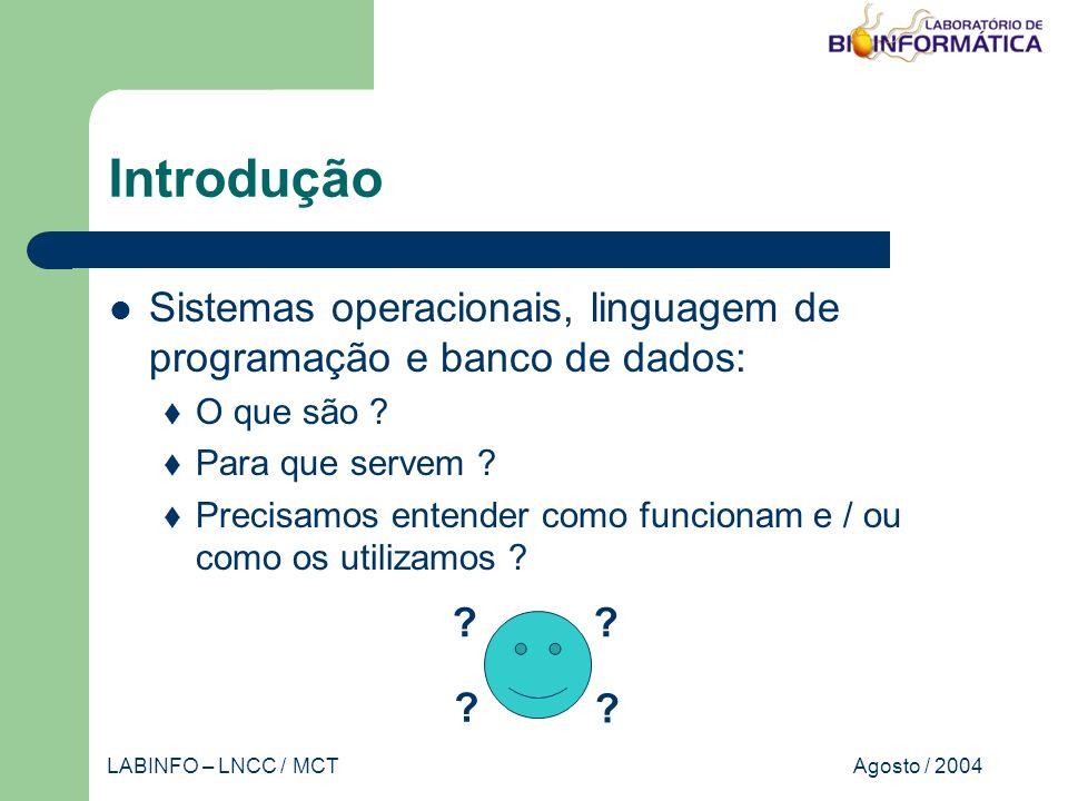 Agosto / 2004LABINFO – LNCC / MCT Sistema operacional Introdução Classificação dos sistemas operacionais Estrutura do sistema operacional