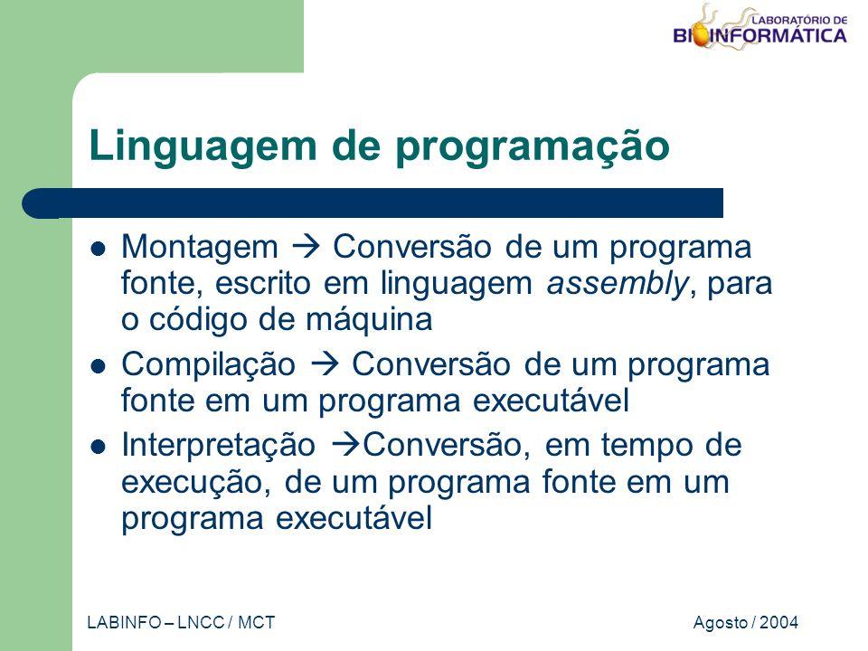 Agosto / 2004LABINFO – LNCC / MCT Linguagem de programação Montagem Conversão de um programa fonte, escrito em linguagem assembly, para o código de máquina Compilação Conversão de um programa fonte em um programa executável Interpretação Conversão, em tempo de execução, de um programa fonte em um programa executável