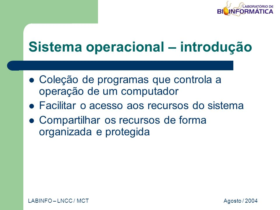 Agosto / 2004LABINFO – LNCC / MCT Banco de dados – implementação Forma geral do SELECT SELECT [DISTINCT] FROM [WHERE ] [GROUP BY ] [HAVING ] [ORDER BY ]