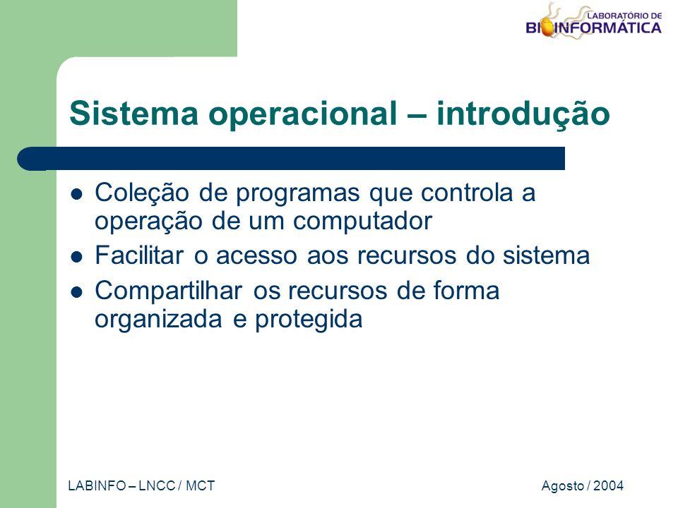 Agosto / 2004LABINFO – LNCC / MCT Sistema operacional – introdução Coleção de programas que controla a operação de um computador Facilitar o acesso aos recursos do sistema Compartilhar os recursos de forma organizada e protegida