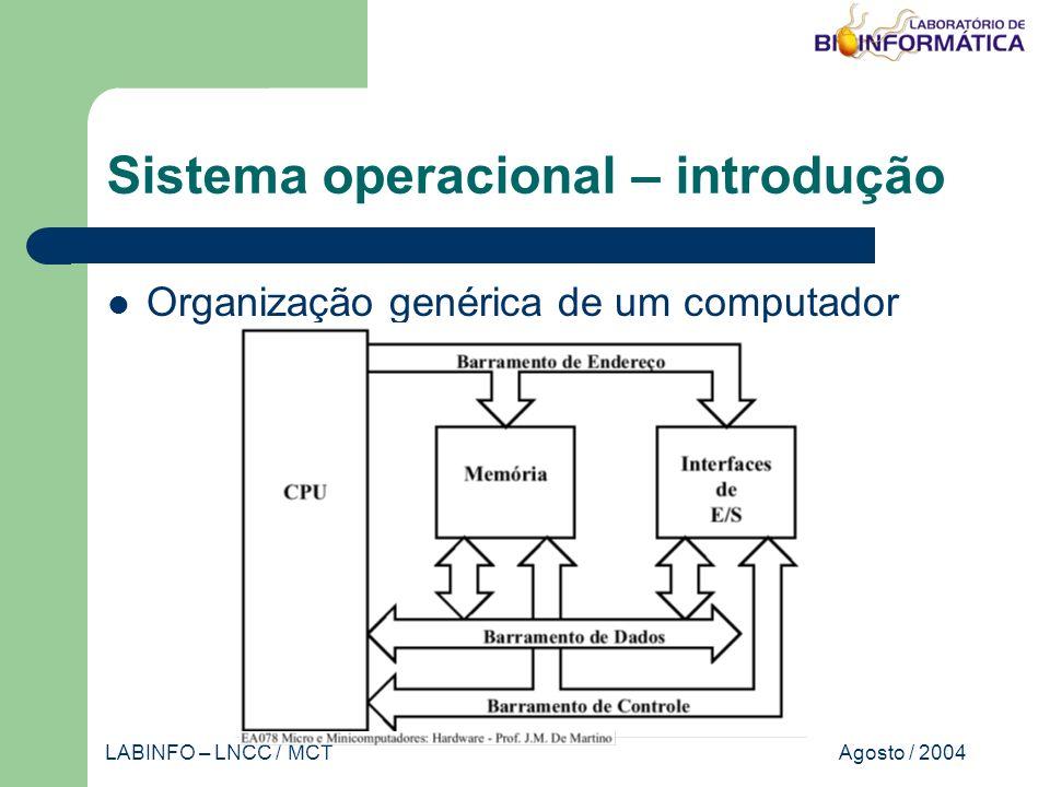 Agosto / 2004LABINFO – LNCC / MCT Sistema operacional – classificação Monoprogramáveis / monotarefa Recursos são dedicados a execução de um único programa Subutilização dos recursos Implementação simples Monousuário