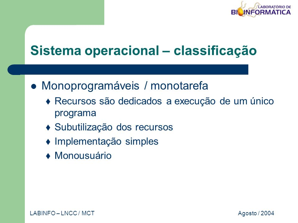 Agosto / 2004LABINFO – LNCC / MCT Banco de dados – projeto nomeprodutoseqüência dnaA...