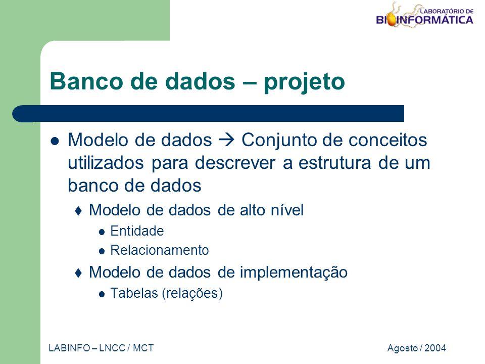 Agosto / 2004LABINFO – LNCC / MCT Banco de dados – projeto Modelo de dados Conjunto de conceitos utilizados para descrever a estrutura de um banco de dados Modelo de dados de alto nível Entidade Relacionamento Modelo de dados de implementação Tabelas (relações)
