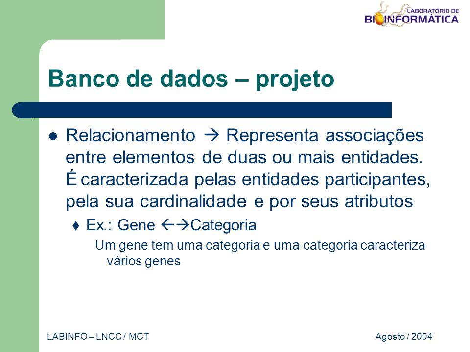 Agosto / 2004LABINFO – LNCC / MCT Banco de dados – projeto Relacionamento Representa associações entre elementos de duas ou mais entidades.