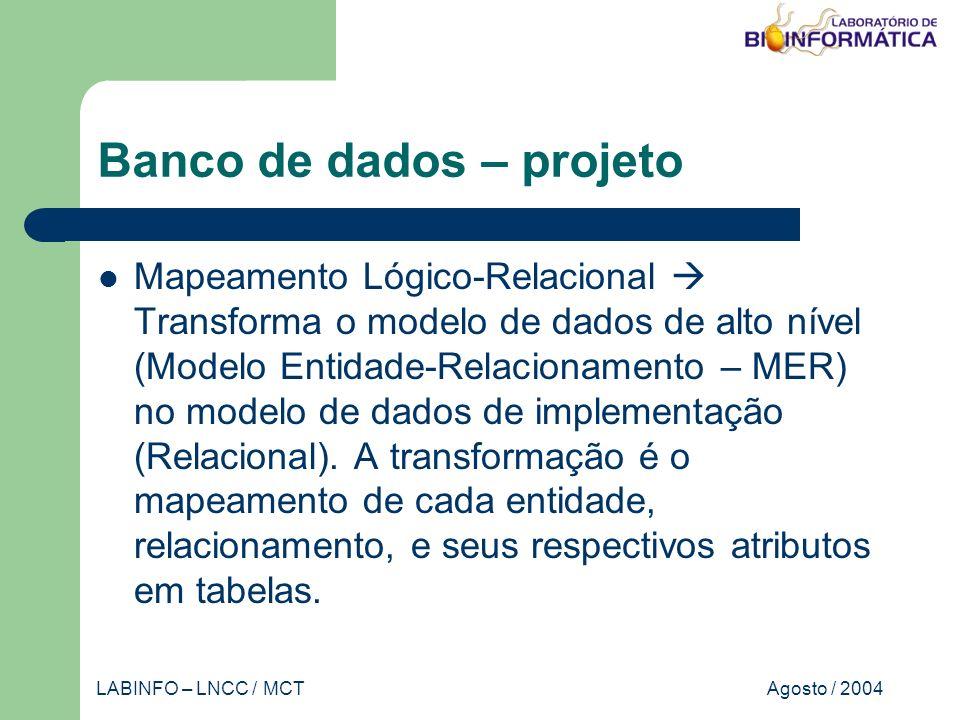 Agosto / 2004LABINFO – LNCC / MCT Banco de dados – projeto Mapeamento Lógico-Relacional Transforma o modelo de dados de alto nível (Modelo Entidade-Relacionamento – MER) no modelo de dados de implementação (Relacional).