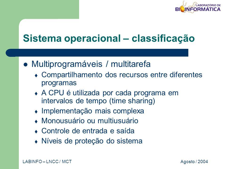 Agosto / 2004LABINFO – LNCC / MCT Sistema operacional – classificação Múltiplos processadores Duas ou mais CPUs interligadas CPUs executam programas diferentes ou o mesmo programa Implementação complexa Tipicamente multiusuário