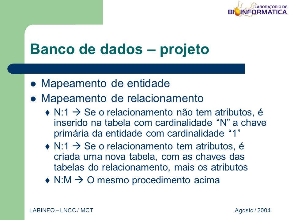 Agosto / 2004LABINFO – LNCC / MCT Banco de dados – projeto Mapeamento de entidade Mapeamento de relacionamento N:1 Se o relacionamento não tem atributos, é inserido na tabela com cardinalidade N a chave primária da entidade com cardinalidade 1 N:1 Se o relacionamento tem atributos, é criada uma nova tabela, com as chaves das tabelas do relacionamento, mais os atributos N:M O mesmo procedimento acima