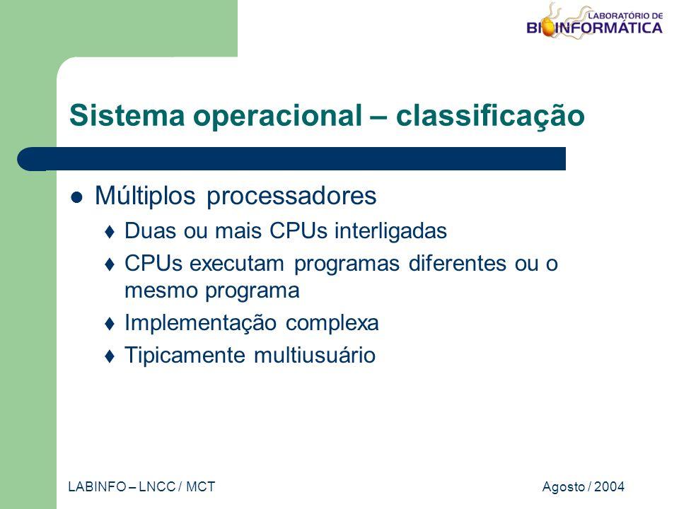 Agosto / 2004LABINFO – LNCC / MCT Banco de dados SGBD AplicaçãoAdministrador BD Usuário