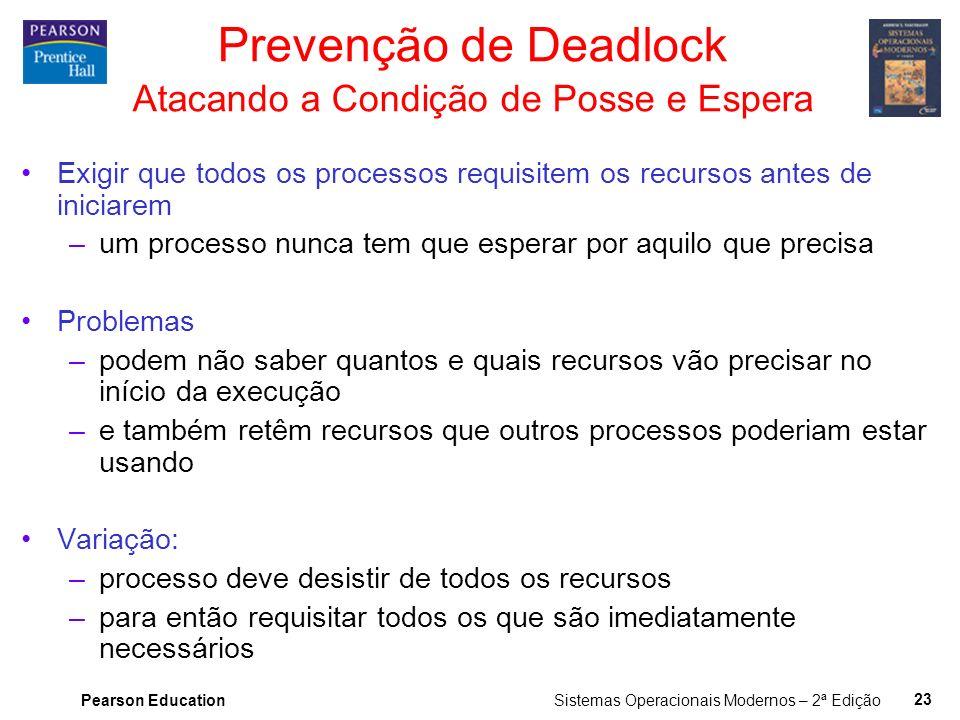 Pearson Education Sistemas Operacionais Modernos – 2ª Edição 22 Prevenção de Deadlock Atacando a Condição de Exclusão Mútua Alguns dispositivos (como