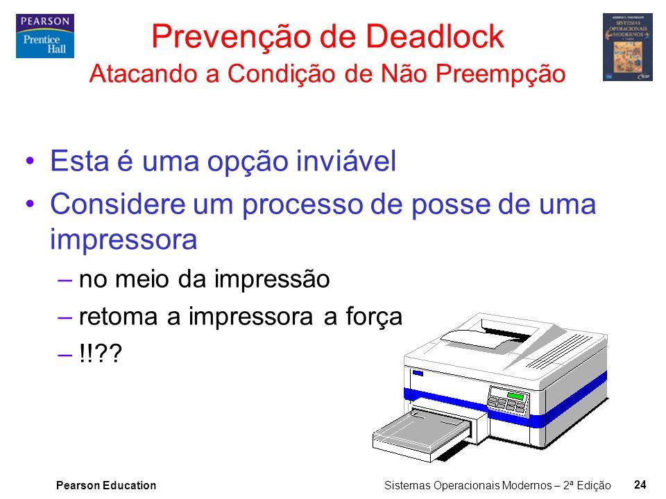 Pearson Education Sistemas Operacionais Modernos – 2ª Edição 23 Prevenção de Deadlock Atacando a Condição de Posse e Espera Exigir que todos os proces