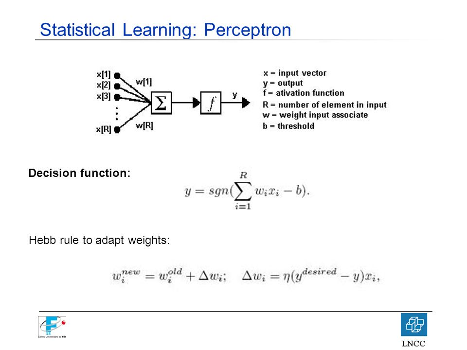 Statistical Learning: Perceptron Decision function: Hebb rule to adapt weights: