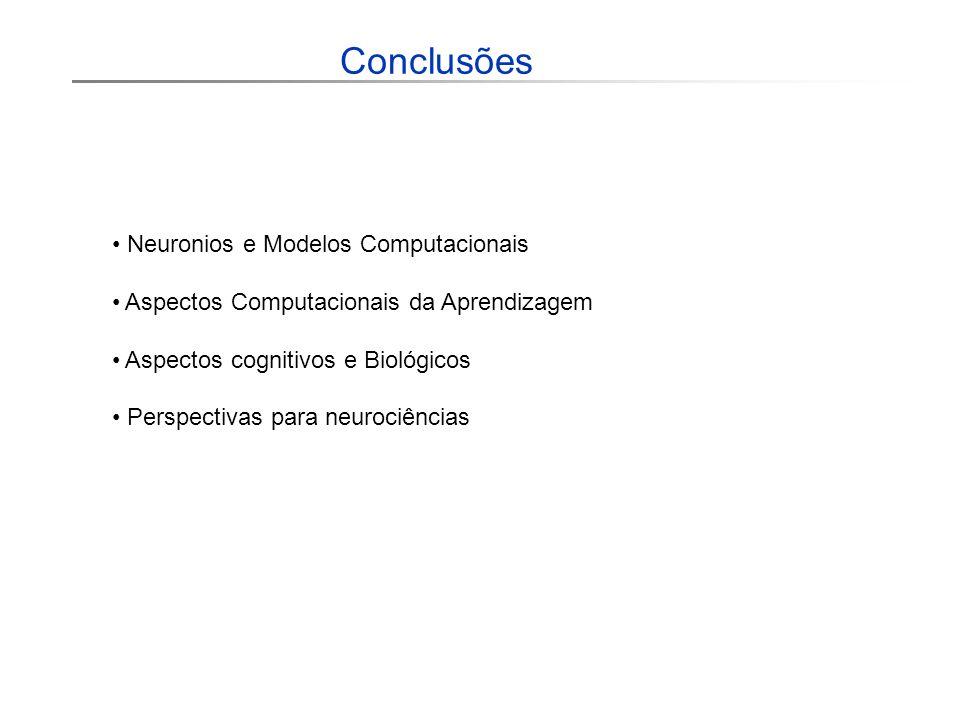Conclusões Neuronios e Modelos Computacionais Aspectos Computacionais da Aprendizagem Aspectos cognitivos e Biológicos Perspectivas para neurociências