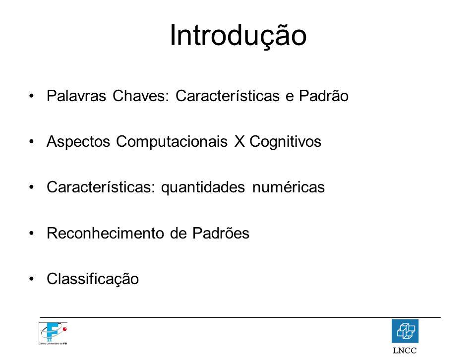 Introdução Palavras Chaves: Características e Padrão Aspectos Computacionais X Cognitivos Características: quantidades numéricas Reconhecimento de Pad