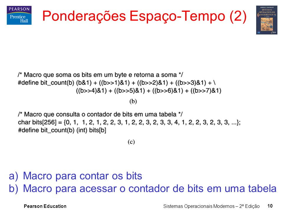 Pearson Education Sistemas Operacionais Modernos – 2ª Edição 10 a)Macro para contar os bits b)Macro para acessar o contador de bits em uma tabela Pond