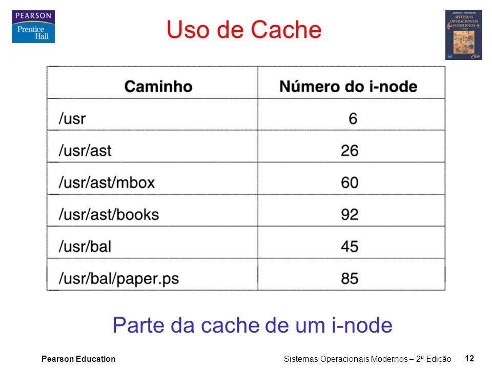 Pearson Education Sistemas Operacionais Modernos – 2ª Edição 12 Uso de Cache Parte da cache de um i-node