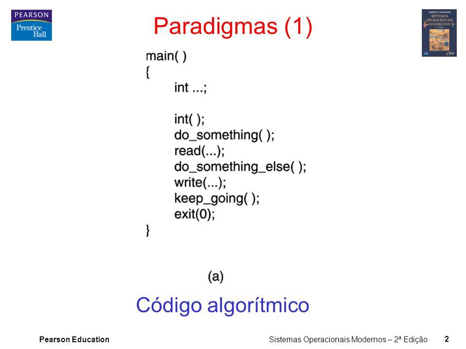 Pearson Education Sistemas Operacionais Modernos – 2ª Edição 2 Paradigmas (1) Código algorítmico
