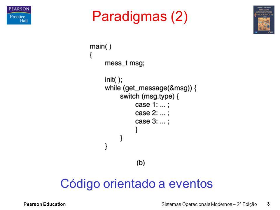 Pearson Education Sistemas Operacionais Modernos – 2ª Edição 3 Paradigmas (2) Código orientado a eventos