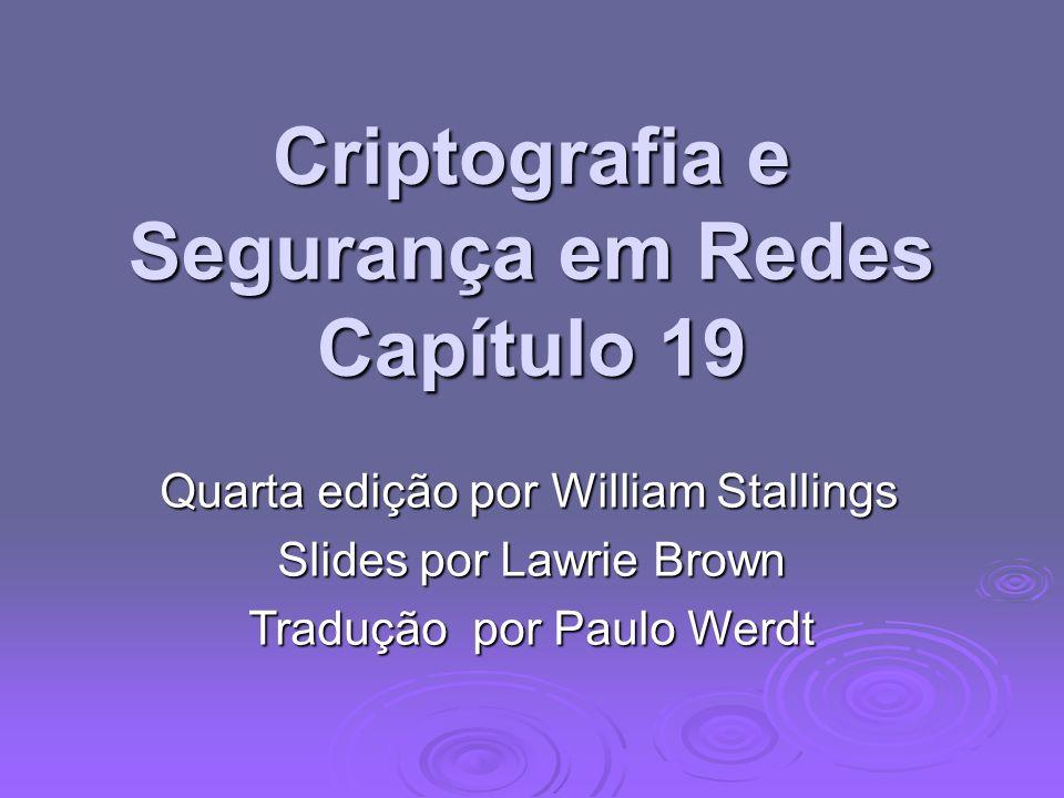 Criptografia e Segurança em Redes Capítulo 19 Quarta edição por William Stallings Slides por Lawrie Brown Tradução por Paulo Werdt