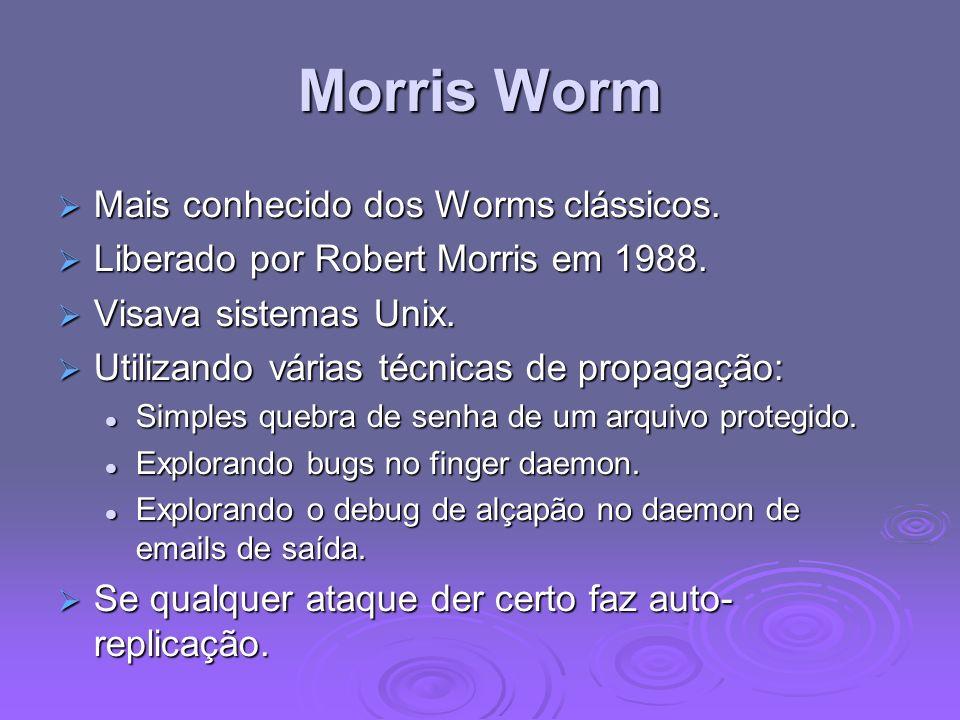 Morris Worm Mais conhecido dos Worms clássicos. Mais conhecido dos Worms clássicos. Liberado por Robert Morris em 1988. Liberado por Robert Morris em