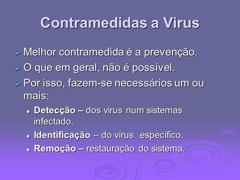 Contramedidas a Virus Melhor contramedida é a prevenção. Melhor contramedida é a prevenção. O que em geral, não é possível. O que em geral, não é poss