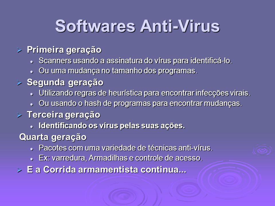 Softwares Anti-Virus Primeira geração Primeira geração Scanners usando a assinatura do vírus para identificá-lo. Scanners usando a assinatura do vírus