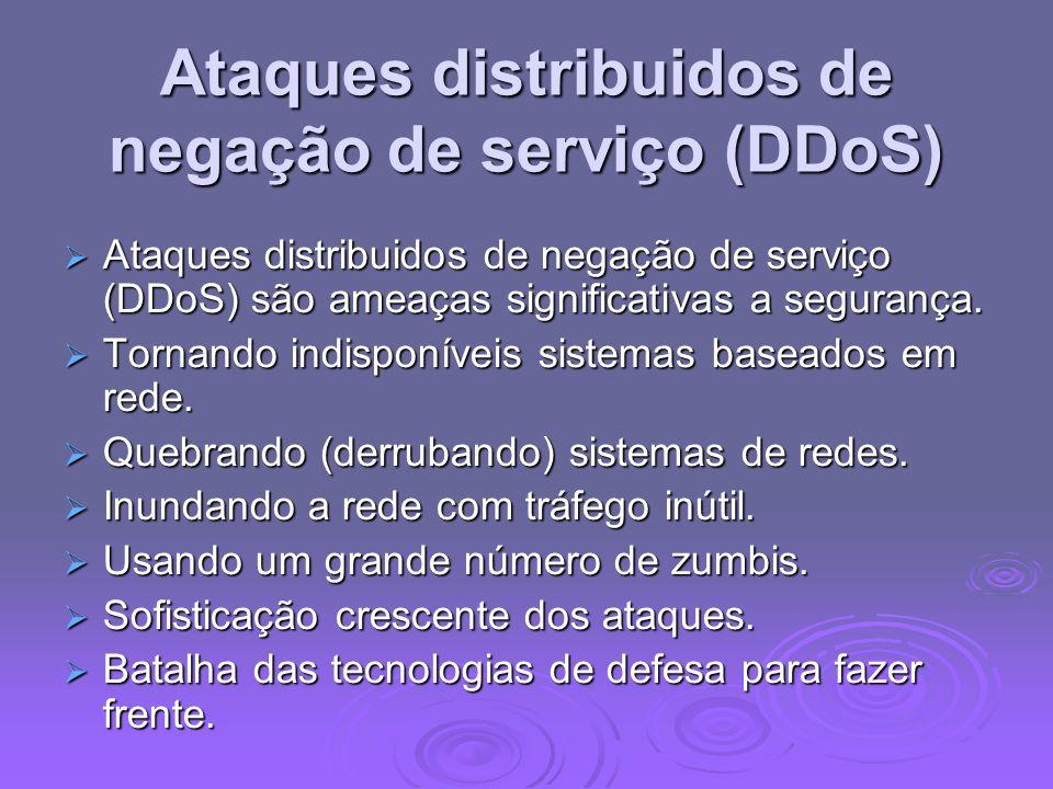Ataques distribuidos de negação de serviço (DDoS) Ataques distribuidos de negação de serviço (DDoS) são ameaças significativas a segurança. Ataques di