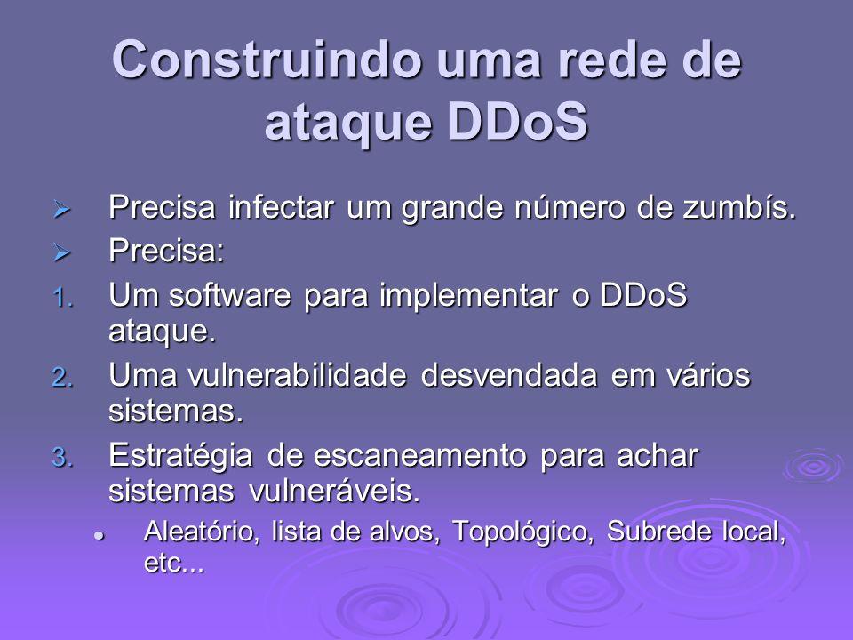 Construindo uma rede de ataque DDoS Precisa infectar um grande número de zumbís. Precisa infectar um grande número de zumbís. Precisa: Precisa: 1. Um