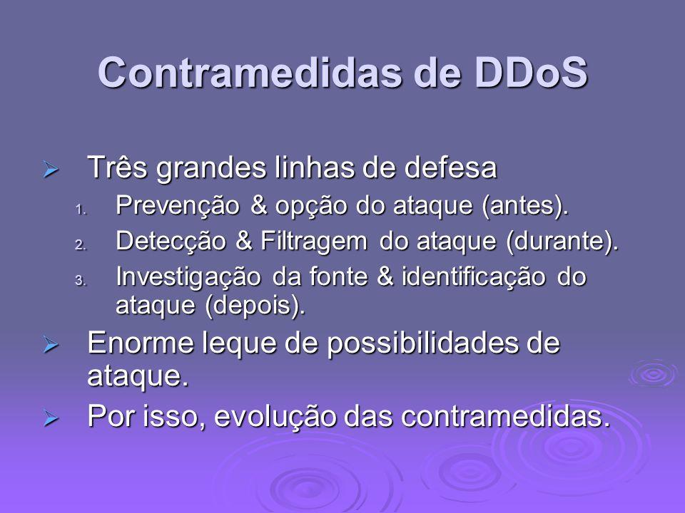 Contramedidas de DDoS Três grandes linhas de defesa Três grandes linhas de defesa 1. Prevenção & opção do ataque (antes). 2. Detecção & Filtragem do a