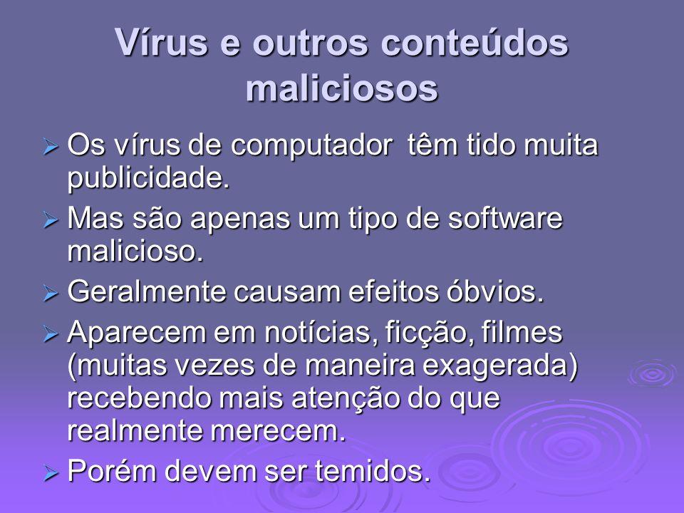 Vírus e outros conteúdos maliciosos Os vírus de computador têm tido muita publicidade. Os vírus de computador têm tido muita publicidade. Mas são apen