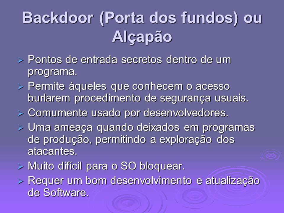 Backdoor (Porta dos fundos) ou Alçapão Pontos de entrada secretos dentro de um programa. Pontos de entrada secretos dentro de um programa. Permite àqu