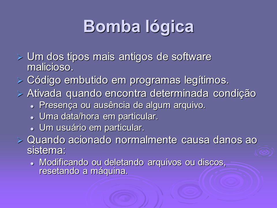 Bomba lógica Um dos tipos mais antigos de software malicioso. Um dos tipos mais antigos de software malicioso. Código embutido em programas legítimos.