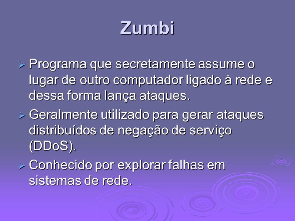 Zumbi Programa que secretamente assume o lugar de outro computador ligado à rede e dessa forma lança ataques. Programa que secretamente assume o lugar