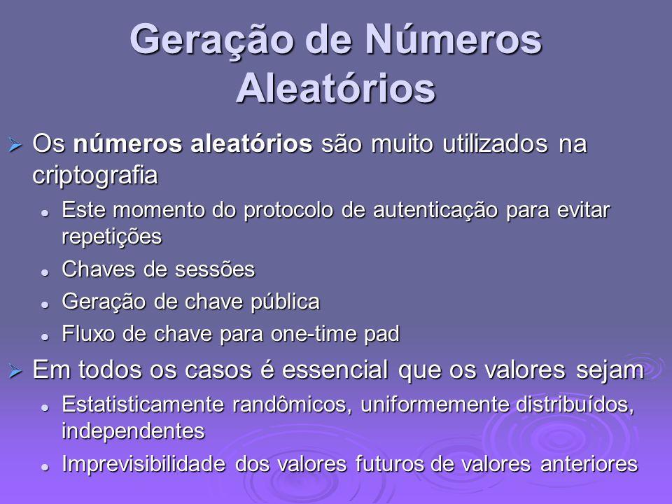 Geração de Números Aleatórios Os números aleatórios são muito utilizados na criptografia Os números aleatórios são muito utilizados na criptografia Es