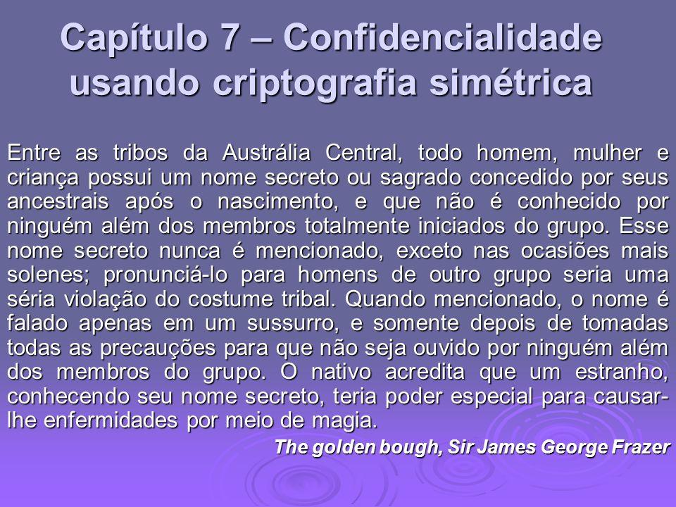 Confidencialidade usando criptografia simétrica Tradicionalmente, criptografia simétrica é utilizada para providenciar a confidencialidade da mensagem Tradicionalmente, criptografia simétrica é utilizada para providenciar a confidencialidade da mensagem