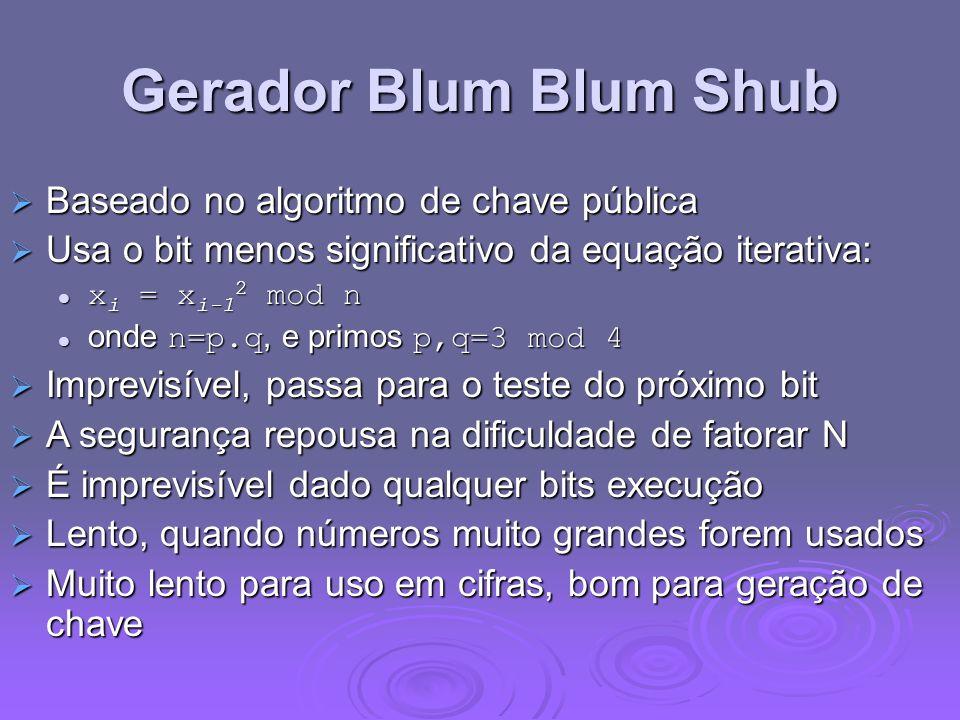Gerador Blum Blum Shub Baseado no algoritmo de chave pública Baseado no algoritmo de chave pública Usa o bit menos significativo da equação iterativa: