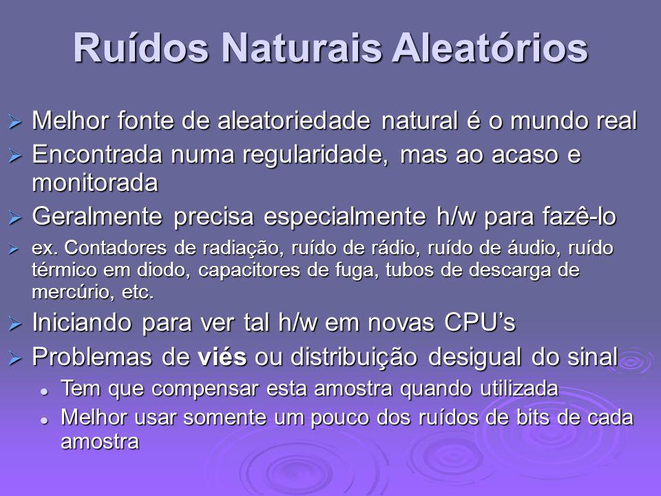 Ruídos Naturais Aleatórios Melhor fonte de aleatoriedade natural é o mundo real Melhor fonte de aleatoriedade natural é o mundo real Encontrada numa r