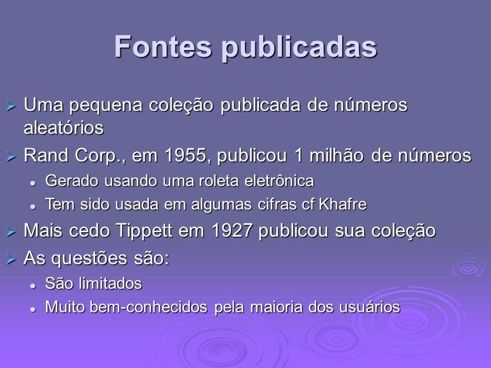 Fontes publicadas Uma pequena coleção publicada de números aleatórios Uma pequena coleção publicada de números aleatórios Rand Corp., em 1955, publico
