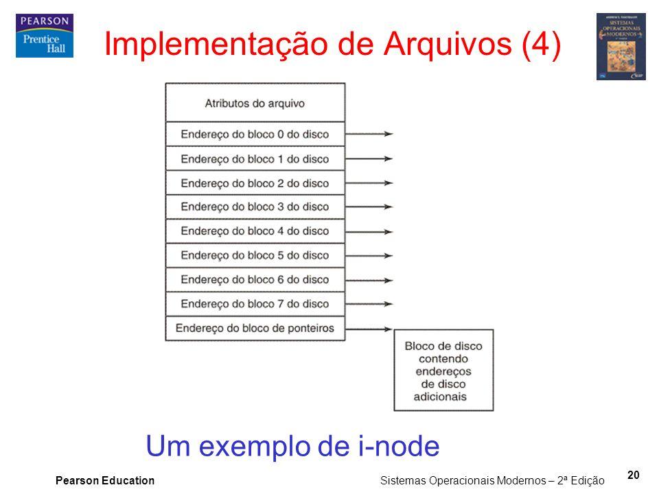 Pearson Education Sistemas Operacionais Modernos – 2ª Edição 20 Implementação de Arquivos (4) Um exemplo de i-node