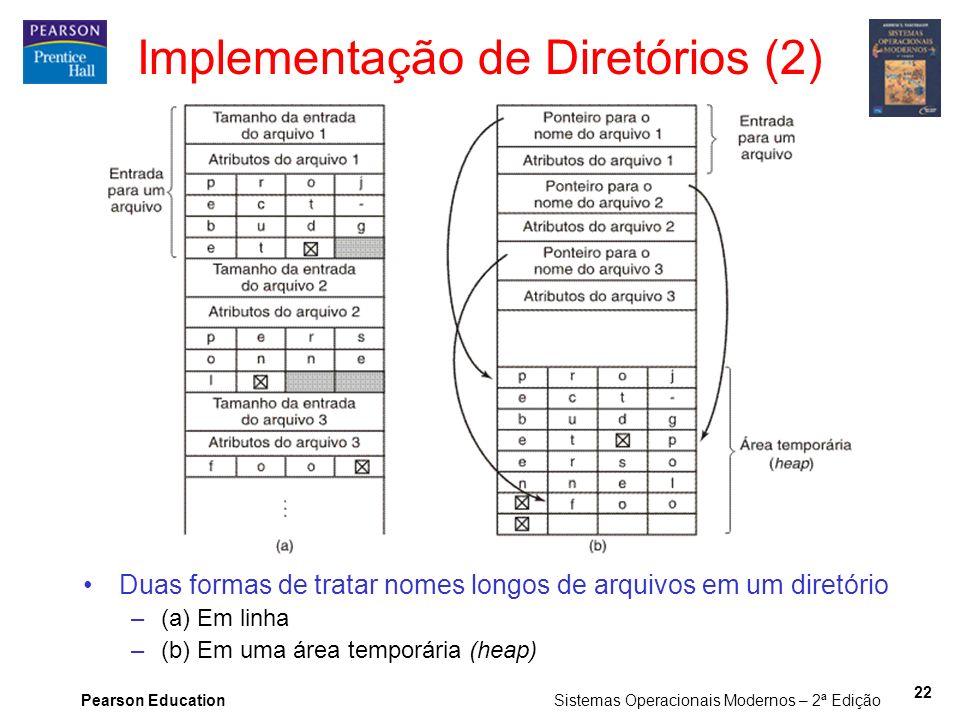 Pearson Education Sistemas Operacionais Modernos – 2ª Edição 22 Implementação de Diretórios (2) Duas formas de tratar nomes longos de arquivos em um d