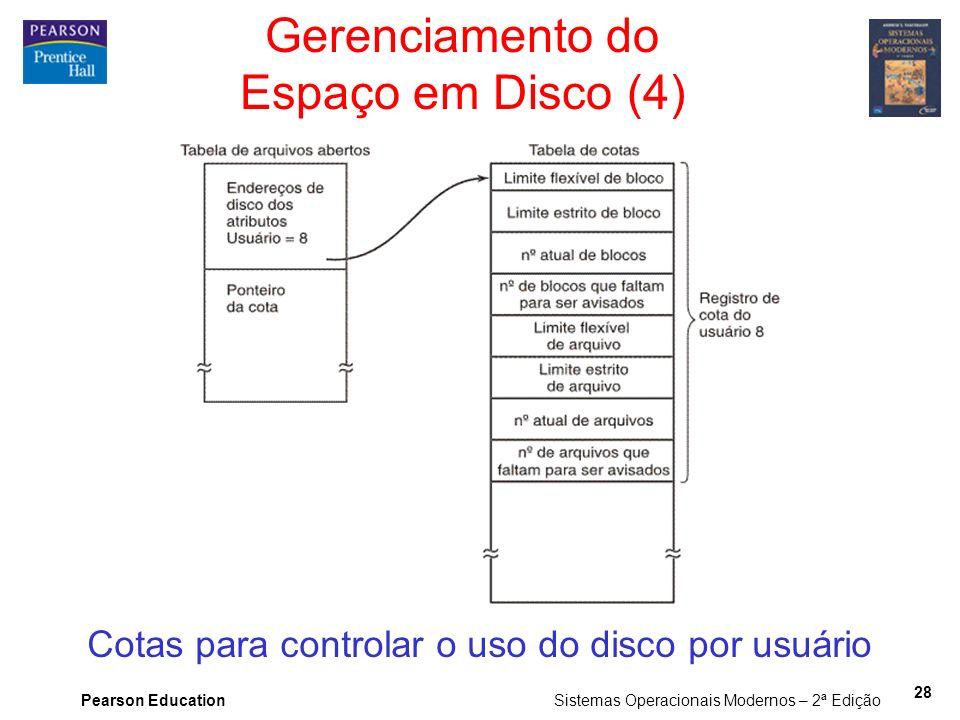 Pearson Education Sistemas Operacionais Modernos – 2ª Edição 28 Gerenciamento do Espaço em Disco (4) Cotas para controlar o uso do disco por usuário