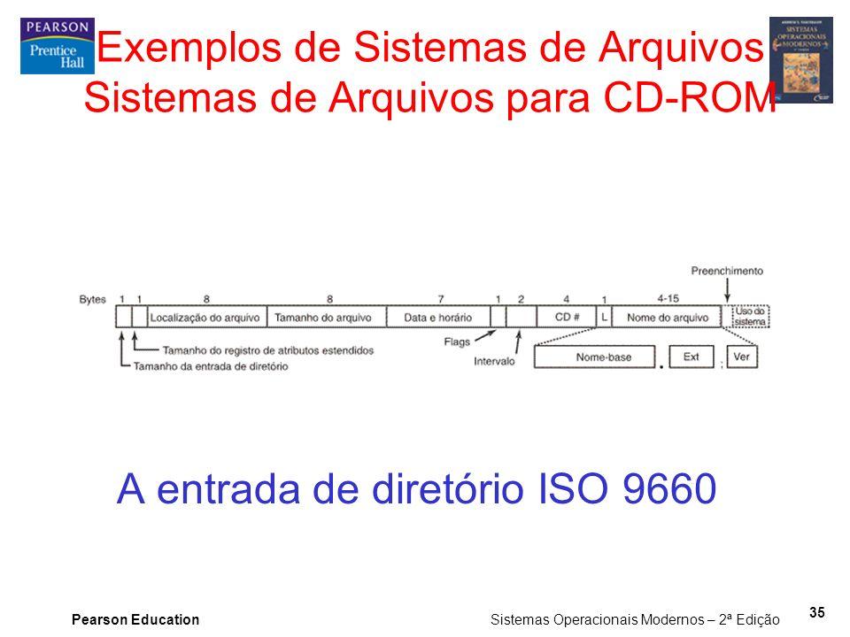 Pearson Education Sistemas Operacionais Modernos – 2ª Edição 35 Exemplos de Sistemas de Arquivos Sistemas de Arquivos para CD-ROM A entrada de diretór